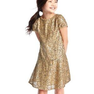 Gap girls Gold sequin dress short sleeves Sz 6-7